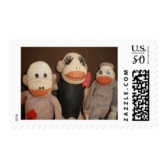 three sock monkeys postage