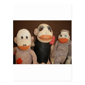 three sock monkeys postcard
