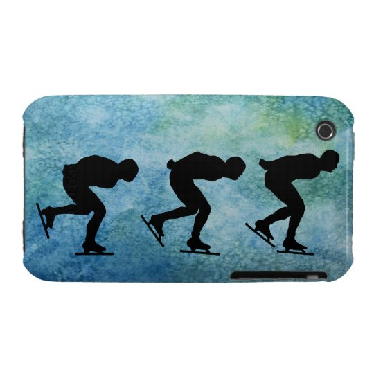 Three Speed Skaters on Aqua iPhone 3 Cover