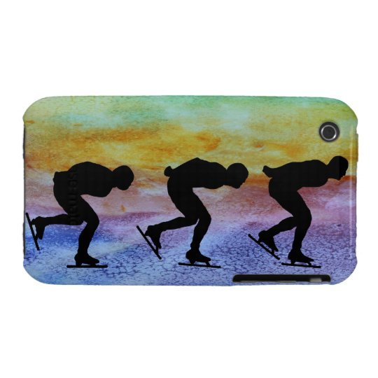 Three Speed Skaters on Colorwashed Background iPhone 3 Case