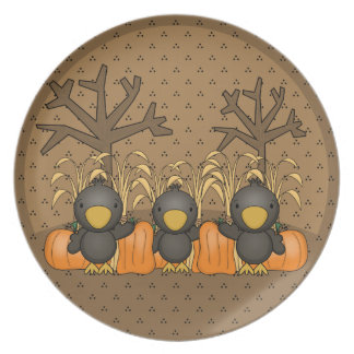 Three Spooked Crows Melamine Plate