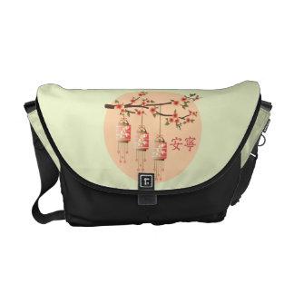 "Three square lanterns blossom ""Peaceful"" Messenger Bag"