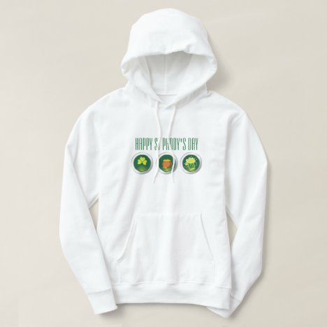 Three St Paddy's Day' Icon's White Hoodie