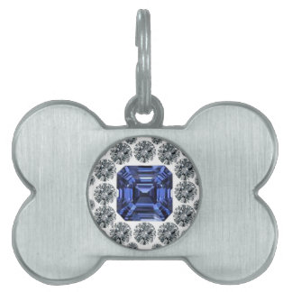 Three Stacked Sapphires Pet Tags