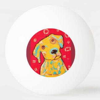 Three Star Ping Pong Ball with Curious Dog