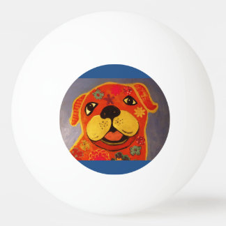 Three Star Ping Pong Ball with Happy Dog
