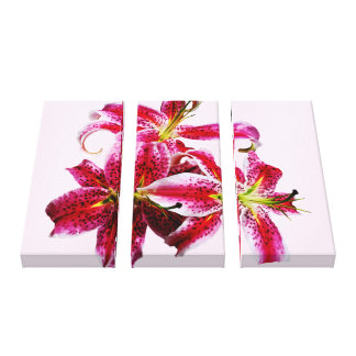 Three Stargazer Lilies Gallery Wrapped Canvas