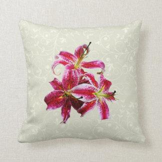 Three Stargazer Lilies Throw Pillow