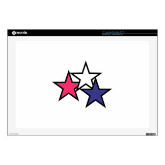 """Three Stars Decals For 17"""" Laptops"""