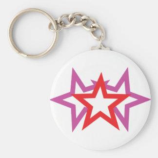 three stars icon basic round button keychain