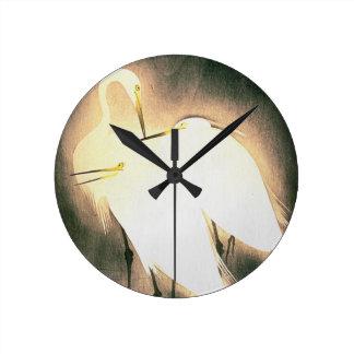 Three Storks Japanese Woodblock Art Ukiyo-E Round Wall Clock