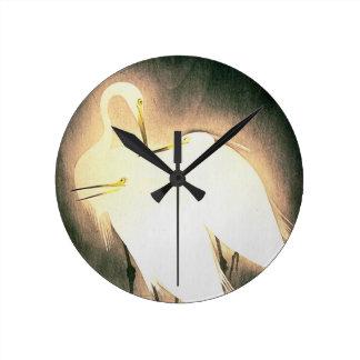 Three Storks Japanese Woodblock Art Ukiyo-E Round Wallclock
