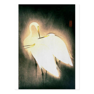 Three Storks Japanese Woodblock Art Ukiyo-E Postcard
