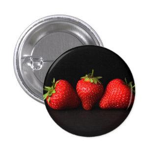 Three Strawberries On Black (H) Pinback Button