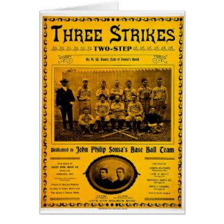 Three Strikes Two Step 1902 Vintage Sheet Music Card