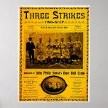 Three Strikes Two Step Vintage Sheet Music Poster