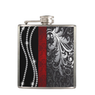 Three String of Diamonds & Floral Damask Hip Flask