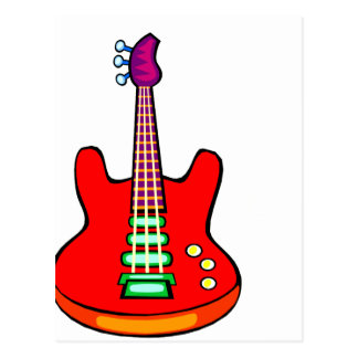 Three Stringed Bass Guitar Image Graphic Postcard