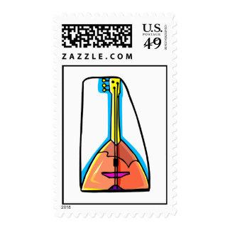 Three stringed instrument graphic design postage stamp