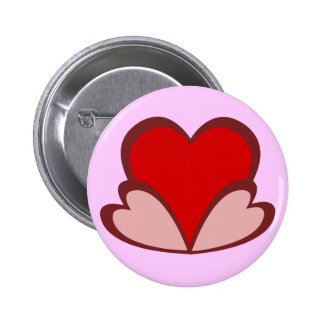 Three stylish red and pink hearts button