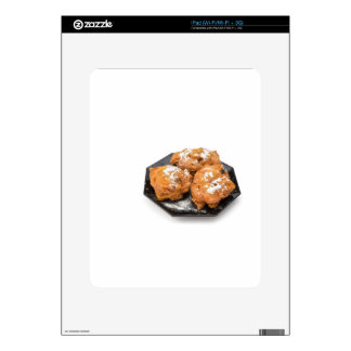 Three sugared fried fritters or oliebollen skin for iPad