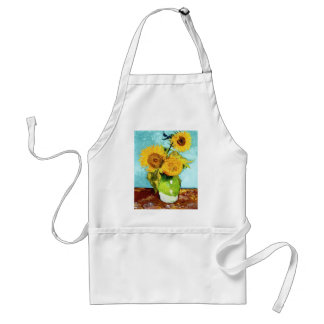 Three Sunflowers by Van Gogh Fine Art Adult Apron