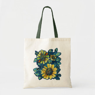 Three Sunflowers, Floral Art Tote Bag
