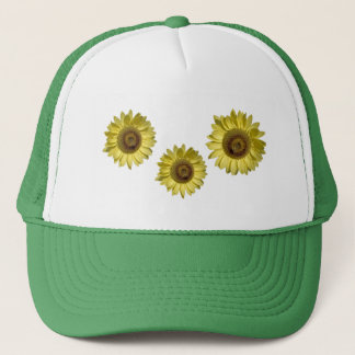 three sunflowers. floral photo art. trucker hat
