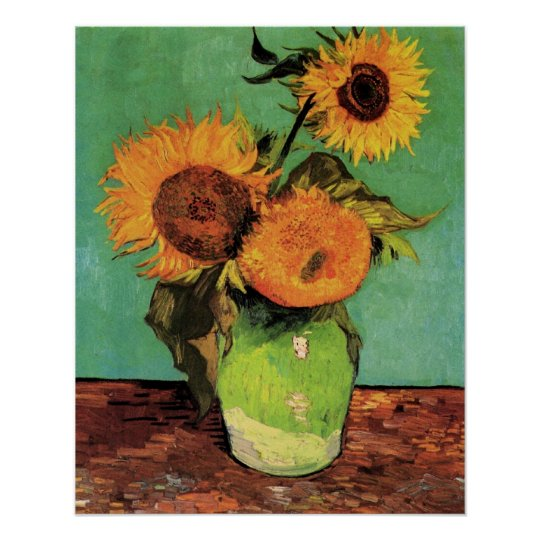 Three Sunflowers in a Vase by Van Gogh Poster