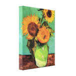 Three Sunflowers in a Vase by Vincent van Gogh Stretched Canvas Print