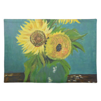 Three Sunflowers in a Vase, van Gogh Cloth Placemat