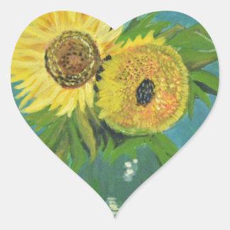 Three Sunflowers in a Vase, van Gogh Heart Sticker