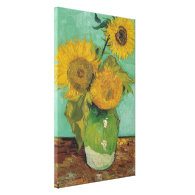 Three Sunflowers in a Vase, Vincent van Gogh. Gallery Wrap Canvas