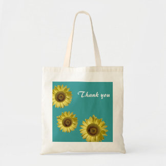 Three sunflowers in teal background thank you tote bag
