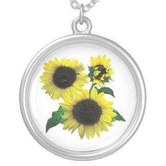 Three Sunflowers Round Pendant Necklace
