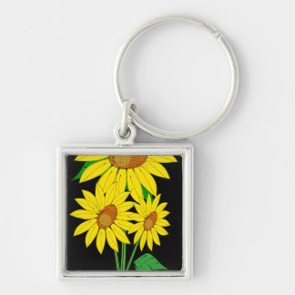 Three Sunflowers Silver-Colored Square Keychain