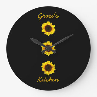 Three Sunny Sunflowers for Grace's Kitchen I Large Clock