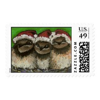Three swallows singing Christmas carols Postage