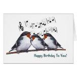 Three Swallows Singing Happy Birthday: Oil Pastel Greeting Card