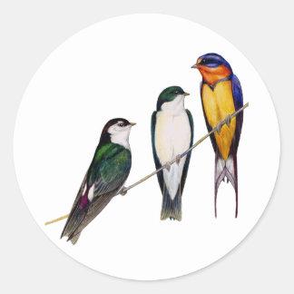 Three Swallows Round Sticker