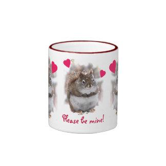 Three Sweet Squirrels Valentine Ringer Coffee Mug