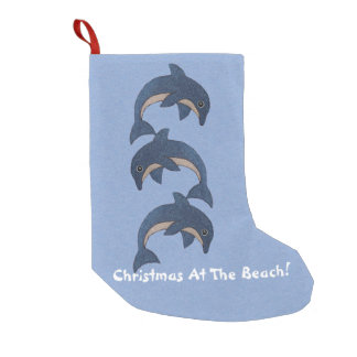 Three Swimming Sparkle Dolphins Beach Christmas Small Christmas Stocking