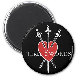 Three Swords 2 Inch Round Magnet