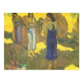 Three Tahitian Women against a Yellow Postcard