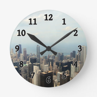 Three Tall Buildings Viewed From Sears Tower Wallclock