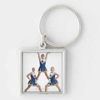 three teenage caucasian female cheerleaders in Silver-Colored square keychain
