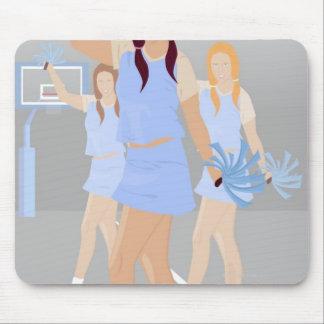 Three teenage cheerleaders holding pom poms mouse pad