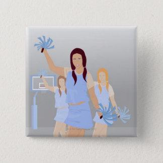 Three teenage cheerleaders holding pom poms pinback button