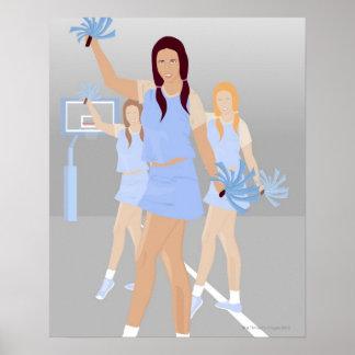 Three teenage cheerleaders holding pom poms poster