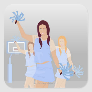 Three teenage cheerleaders holding pom poms square sticker